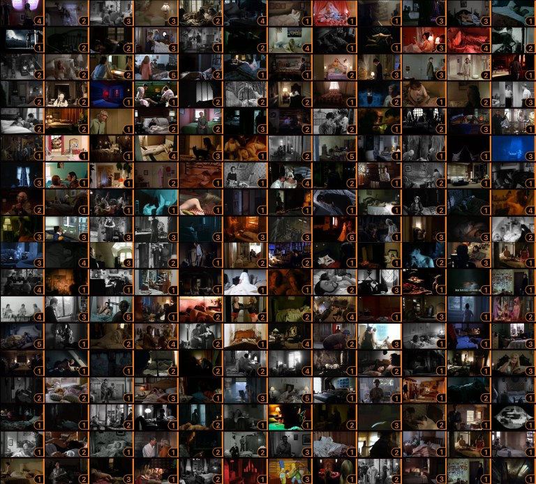 Thumbnails of 214 movies with bedroom sets.